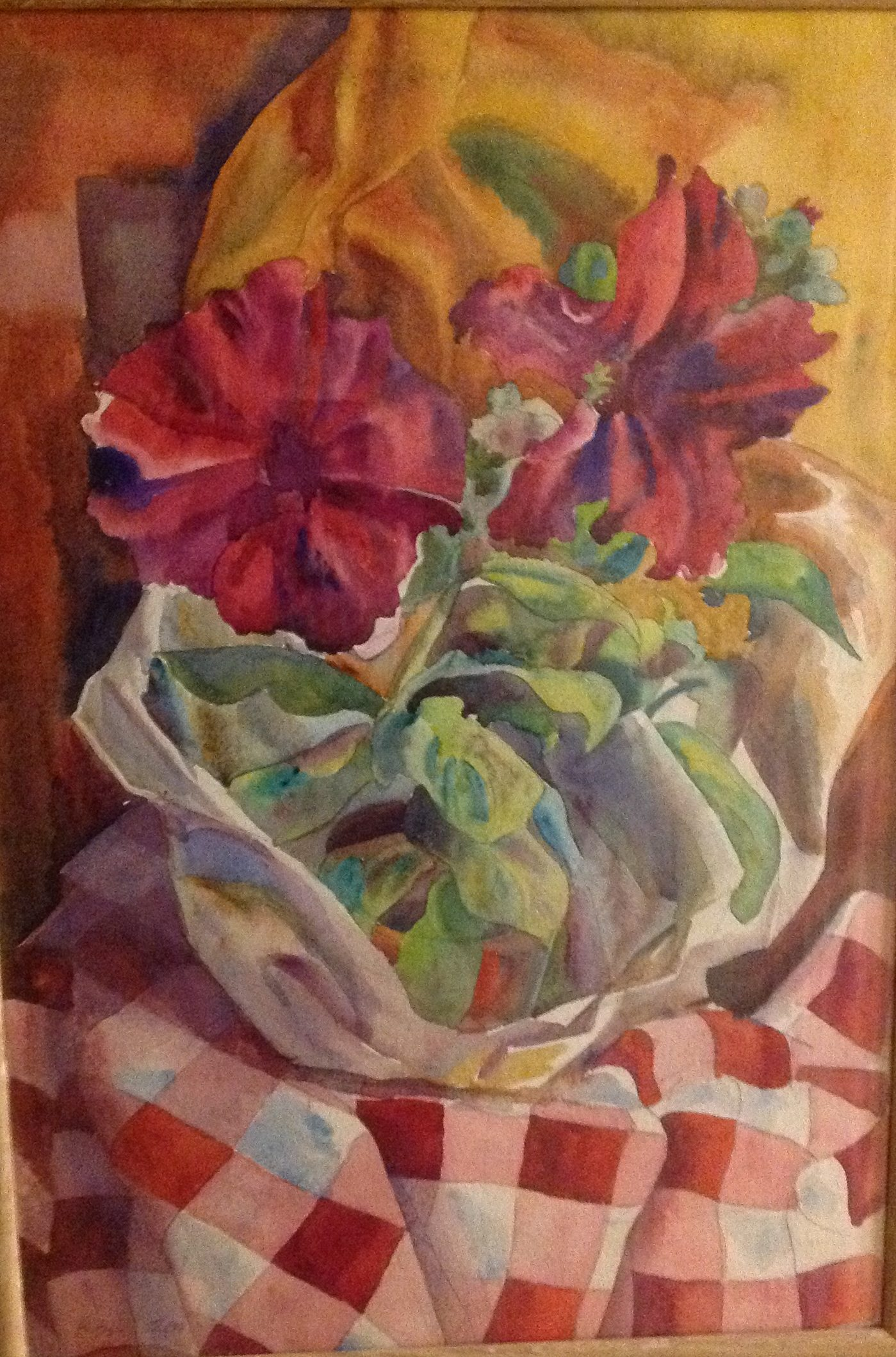 A still life of Flowers on a Chequered Tablecloth 1983 Private collection: Samantha & Ugur Vata