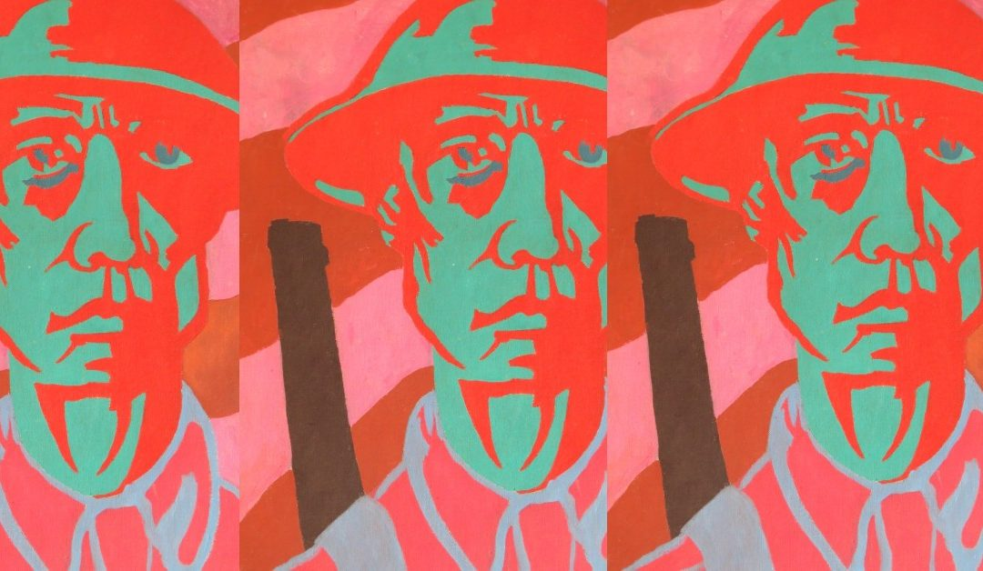 Oil painting self portrait as soldier by Colin Moss in pop art style with a red and green face