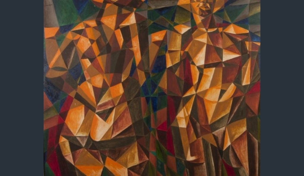 Colin Moss 'Cubist figures' (1950) Oil on Board two female nudes depicted in red, orange and brown triangles and spheres against a green and brown cubist background