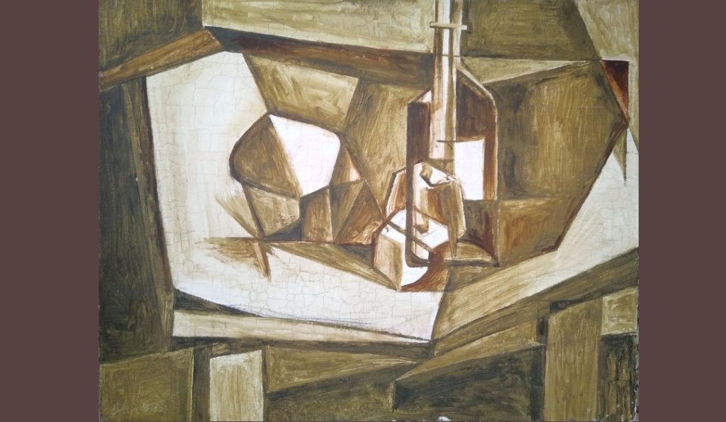 """Colin Moss """"Cubist Still Life"""" (c1949) brown and white depiction of a bottle on a table"""