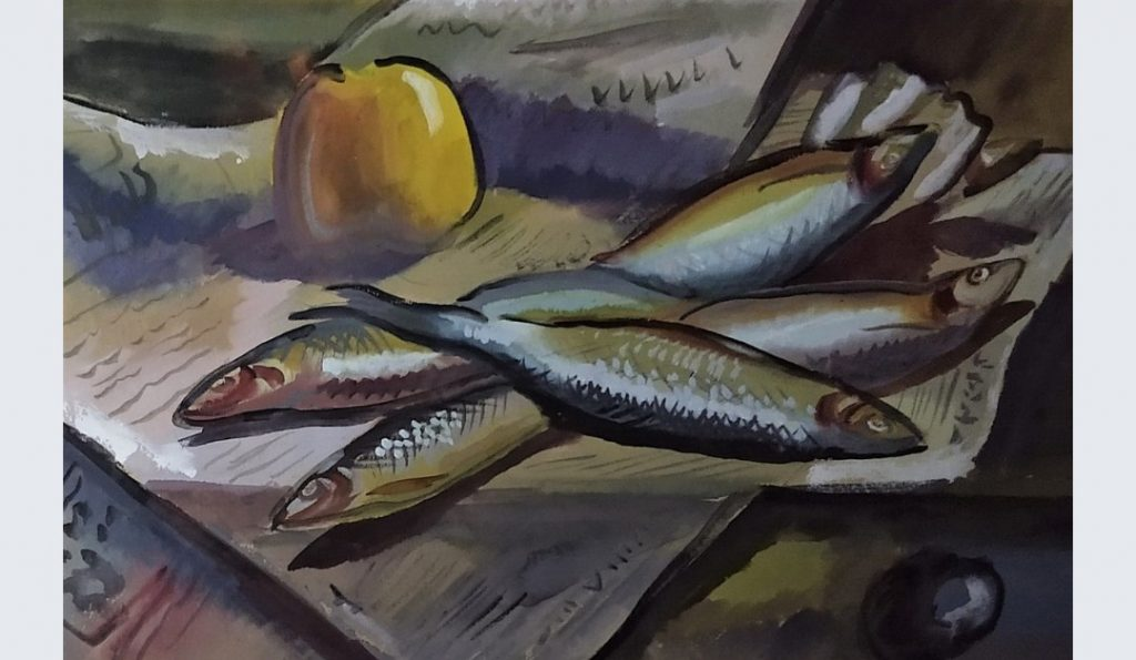 Still Life gouache of herrings lying on a newspaper with an apple by Colin Moss