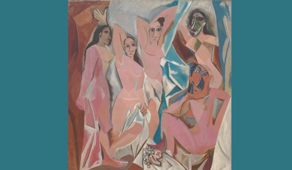 Pablo Picasso Les Demoiselles d'Avignon five naked women with figures composed of flat, splintered planes and faces inspired by Iberian sculpture and African masks
