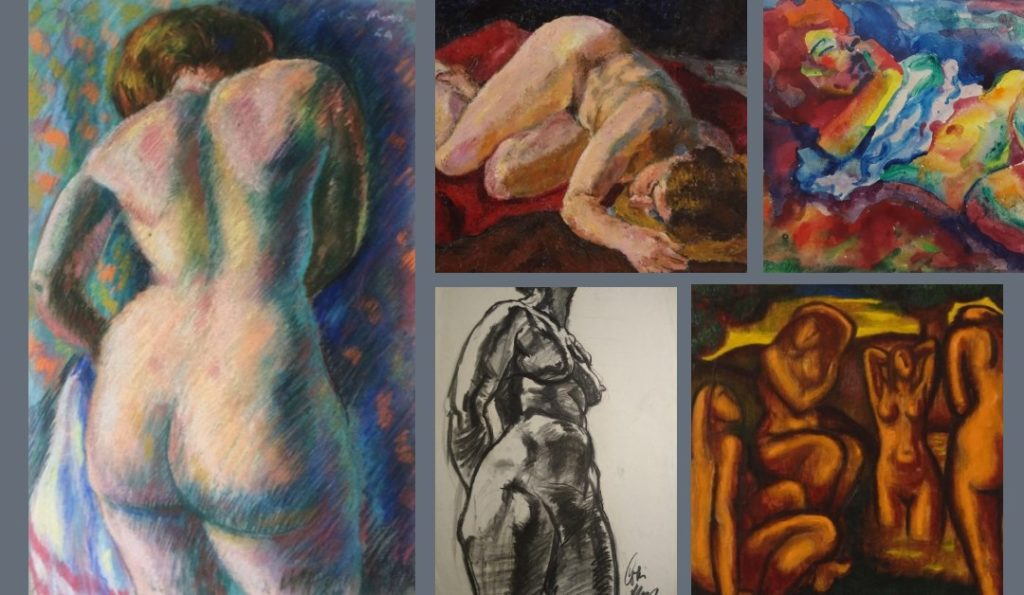 5 life drawing drawings, pastels, oils and watercolours by Colin Moss depicting the female form