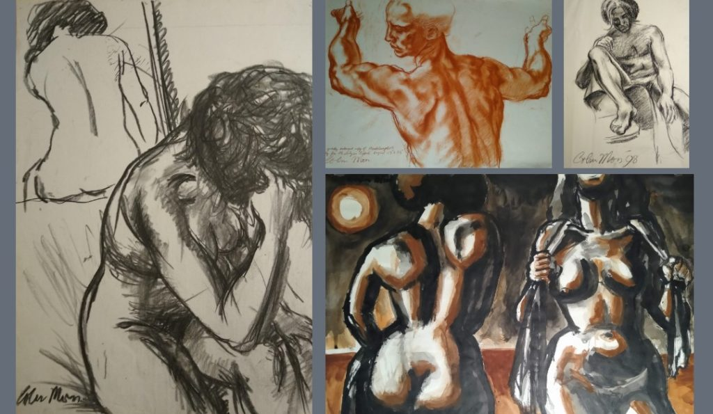"4 life drawing images by Colin Moss in charcoal, red chalk and oil including one ""After Studies for the Libyan Sibyl'"
