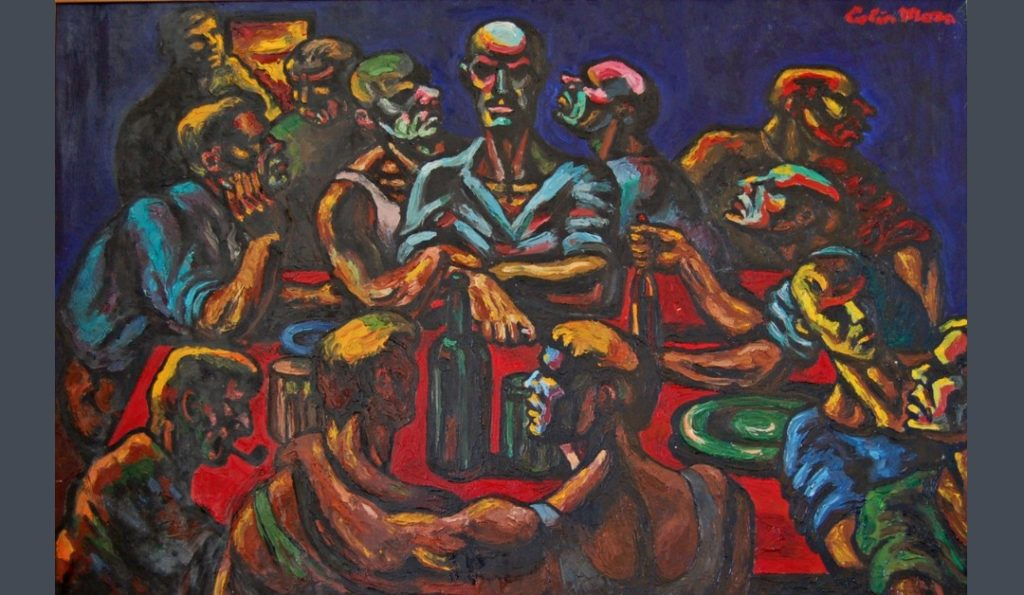 Colin Moss's 1950 depiction of The Last Supper shows a brotherhood of working men, bonded in friendship, in a contemporary setting that takes its inspiration from the pubs of post war Britain.