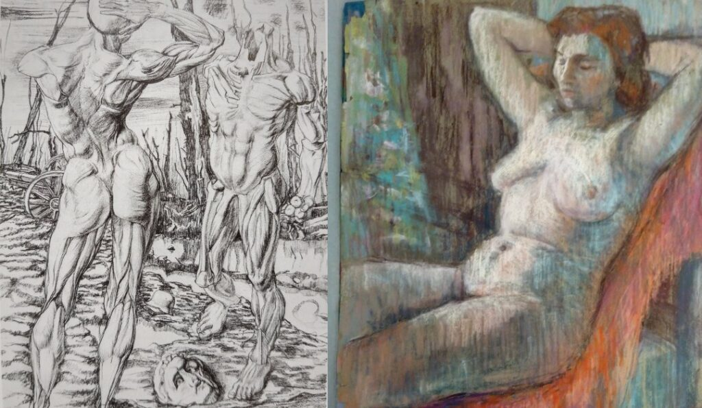 Pencil drawing of two fullsized male anatomical casts set in a surrealist backdrop of a world war one battlefield and a multicoloured pastel of a nude woman sitting in a chair with her arms raised behind her head