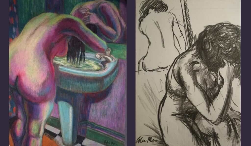 Multicoloured pastel drawing of a nude woman bent over a sink washing her hair with her reflection in a mirror above the sink and charcoal drawing of a nude woman, bent forward with her head in her hands and the reflection of her back seen in the mirror behind