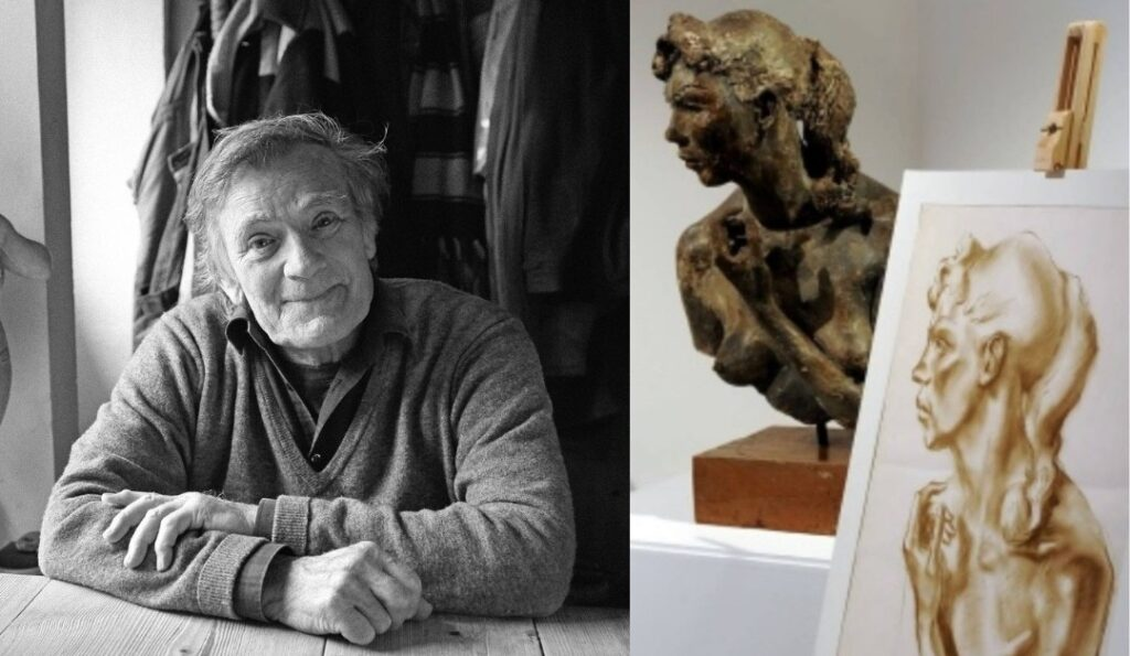 Black and white photo of the sculptor Ray Exworth alongside a photograph of his sculpture of a the top half of a nude woman with a drawing of the sculpture in red charcoal by his teacher Colin Moss
