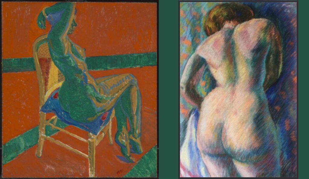 Painting by Sir Matthew Smith of a nude woman sitting on a chair with her back to the view and a multicoloured pastel drawing by Colin Moss of a the back of a woman standing up