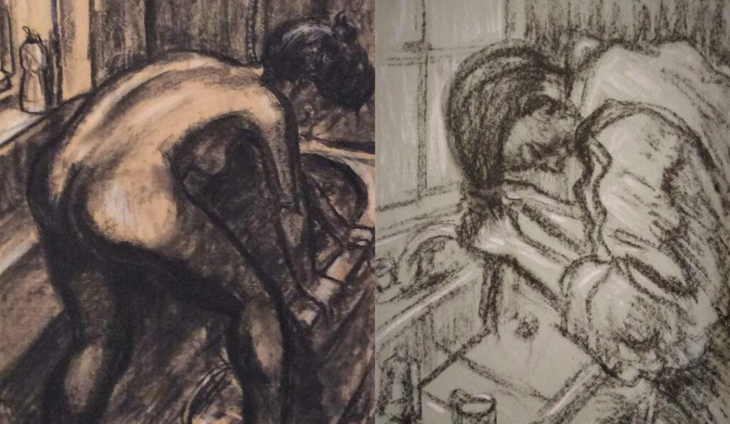 Charcoal drawing of a woman getting out of her bath with her back to the viewer and a charcoal drawing of a woman washing her hair at a sink