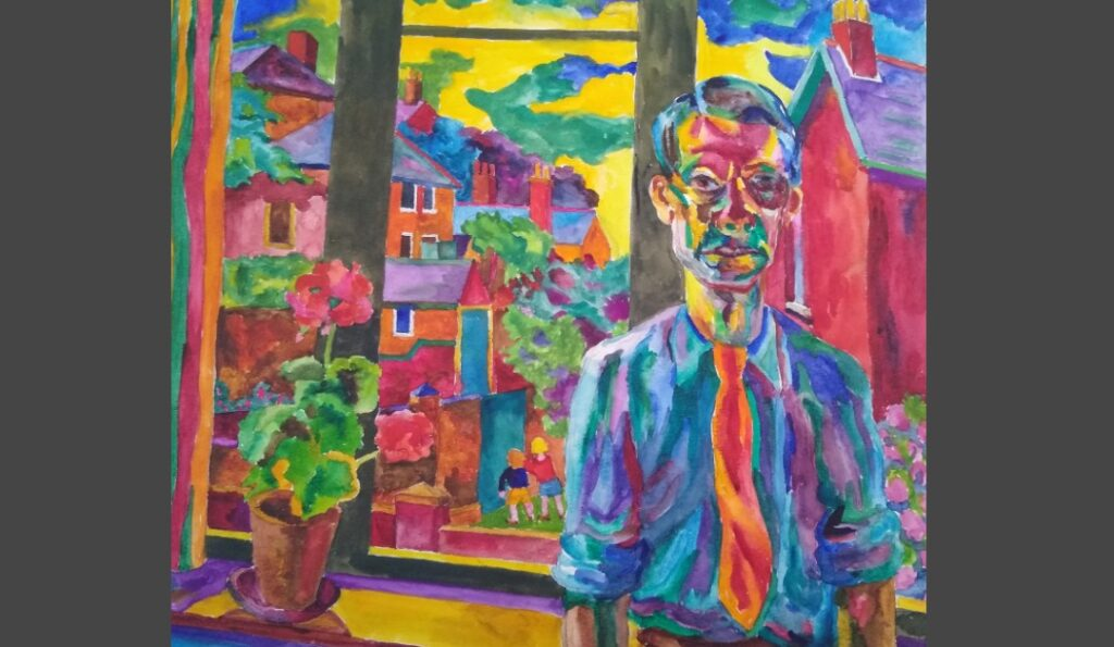 Multi-coloured watercolour showing Colin Moss standing next to a window looking taciturn and downcast