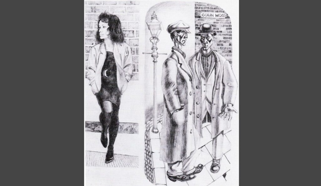Pencil drawing of a prostitute leaning against a wall set next to a drawing of two men in the 1930s